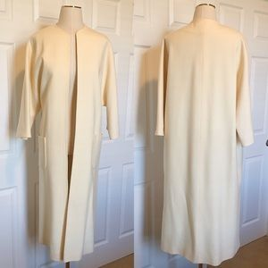 60s Vintage Glamour Wool Open Trench - Ivory - Lg
